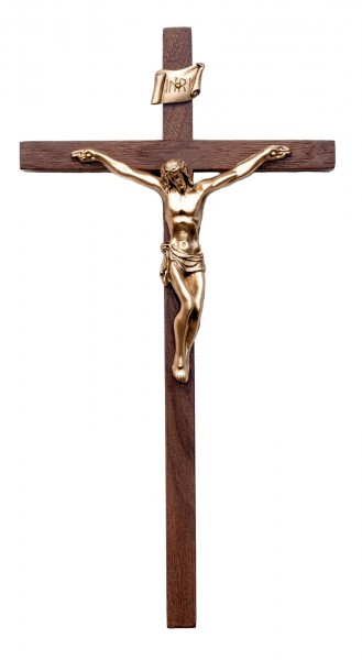 "Elegant Slim Line Walnut Wall Crucifix with Antique Gold Finish Corpus 10"" - Brown"