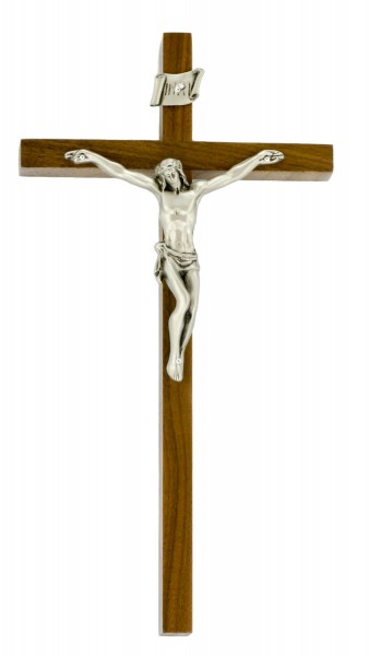 "Elegant Slim Line Walnut Wall Crucifix with Antique Pewter Finish Corpus 10"" - Brown"