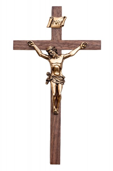 "Elegant Walnut Wall Crucifix with 3.5 Inch Antique Gold Finish Corpus 8"" - Brown"