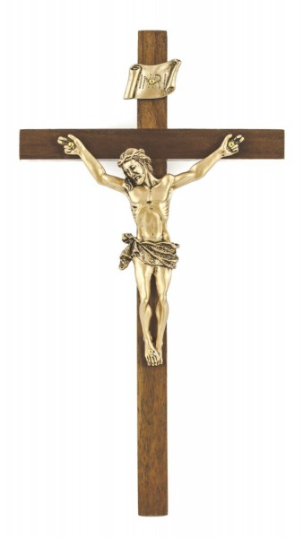 "Elegant Walnut Wall Crucifix with 3.5 Inch Pewter Corpus 8"" - Brown"