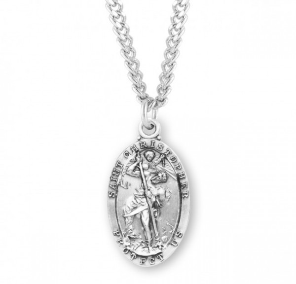 Elongated Oval St. Christopher Sterling Silver necklace - Sterling Silver