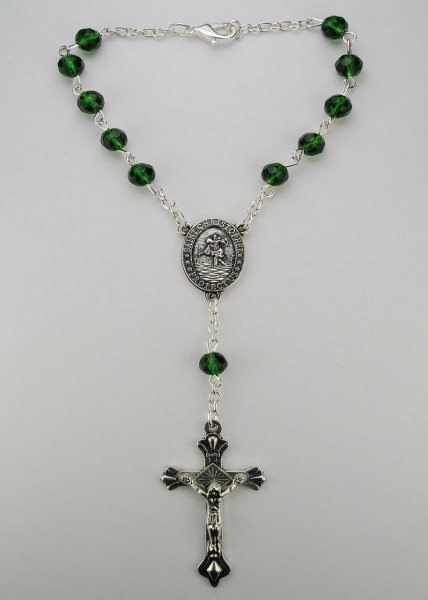 Emerald Auto Rosary - May Birthstone - Emerald Green