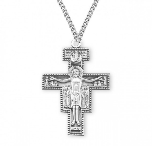Extra Large San Damiano Crucifix Necklace - Sterling Silver