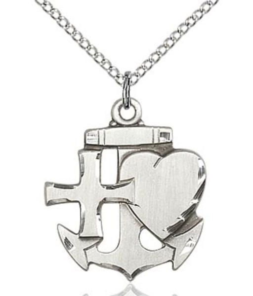 Faith Hope and Charity Medal - Sterling Silver