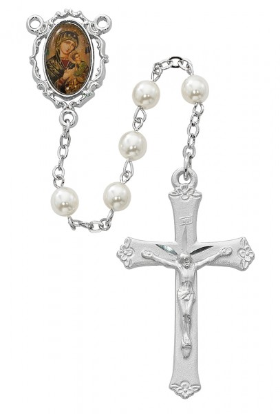 Fancy Border Our Lady of Perpetual Help Rosary - Pearl White