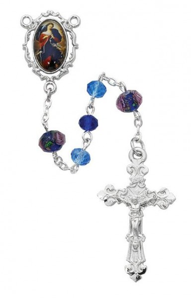 Fancy Border Our Lady of Sorrows Rosary - Blue