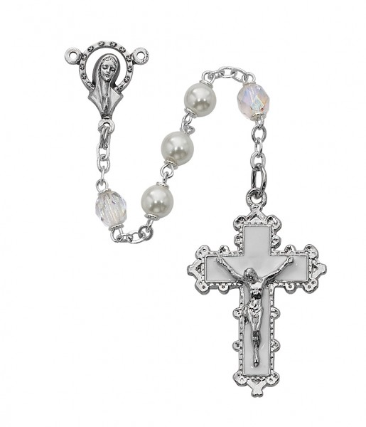 Fancy White Enameled Rosary - White