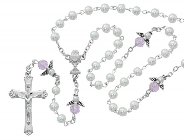 First Communion Angel Rosary with White Beads - White