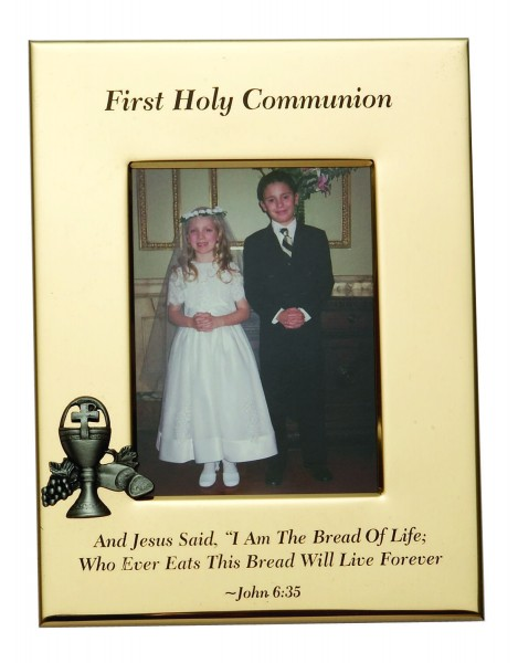 First Communion Photo Frame - Chalice - Gold Tone