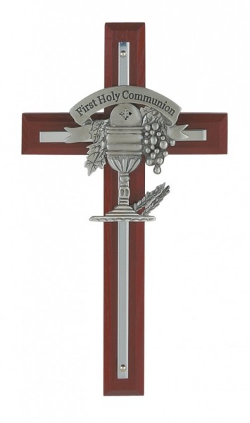 "First Communion Cherry Wood Wall Cross - 7""H - Cherry Wood"