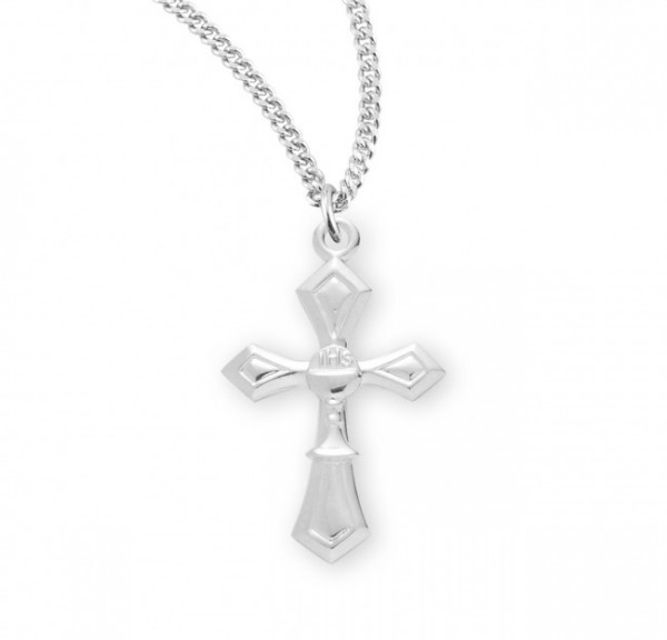 First Communion Cross Pendant with Chalice Centerpiece - Sterling Silver