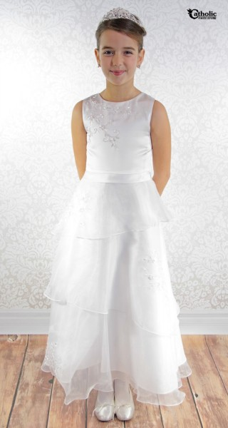First Communion Dress A Line Three Organza Tiers Plus Size
