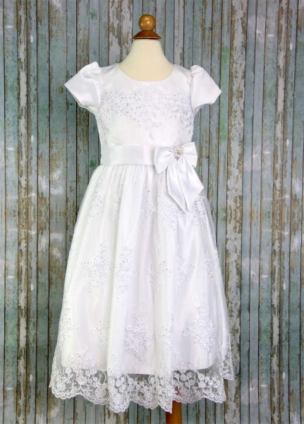 First Communion Dress Corded Tulle with Sequins - White