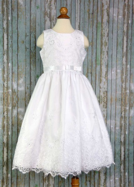 First Communion Dress Embroidered Organza - White