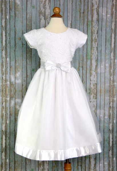 First Communion Dress Embroidered Tulle Sequins - White
