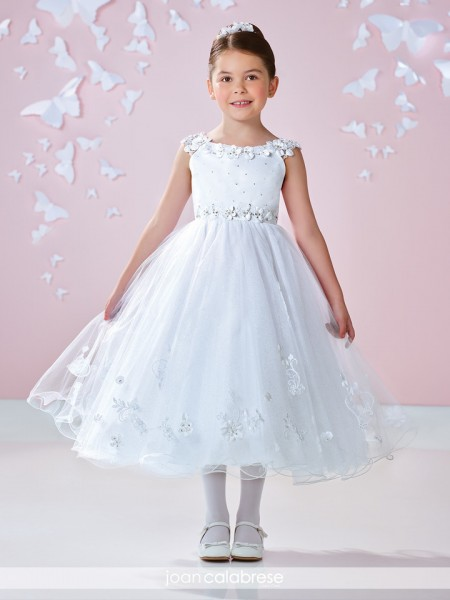 First Communion Dress Flowers Lined Sleeves - White