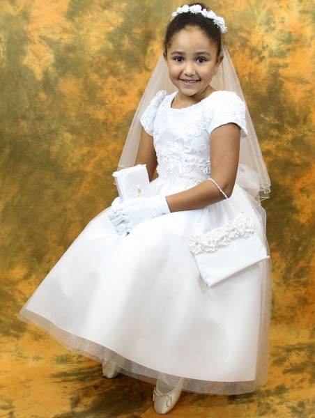 First Communion Dress Ribbon Embroidered Tulle Bodice - White