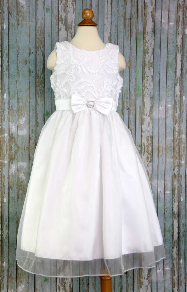 First Communion Dress Ribbon Tulle - White