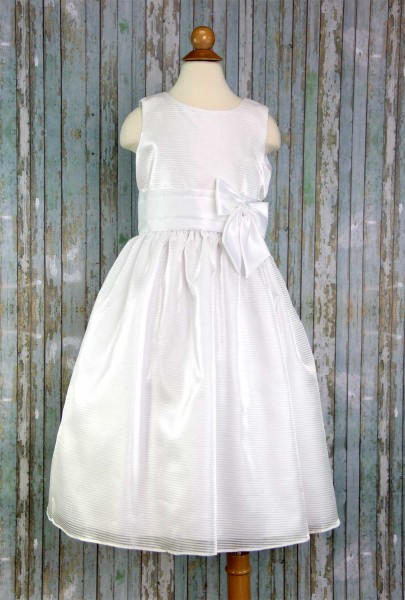 First Communion Dress Striped Organza - White