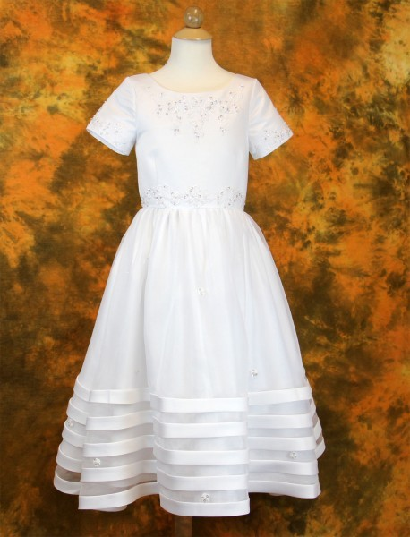 First Communion Dress in Satin with Banded Skirt - White