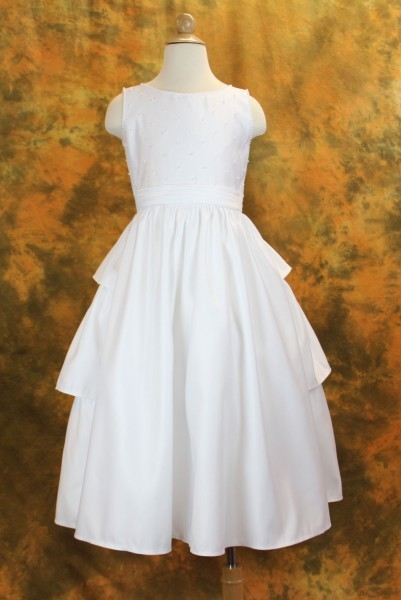 First Communion Dress in Satin with Pearl Accents - White