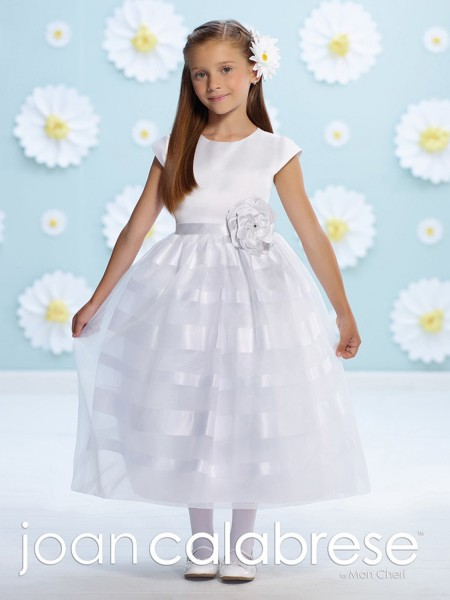 First Communion Dress with 3-D Satin Flower - White