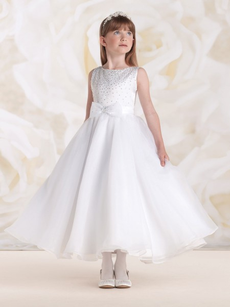first communion dress with beaded organza bow white