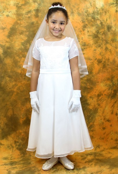 First Communion Dress with Beaded Satin and Organza  - White