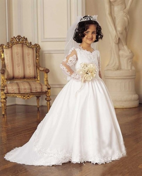 First Communion Dress with Detachable Train - White