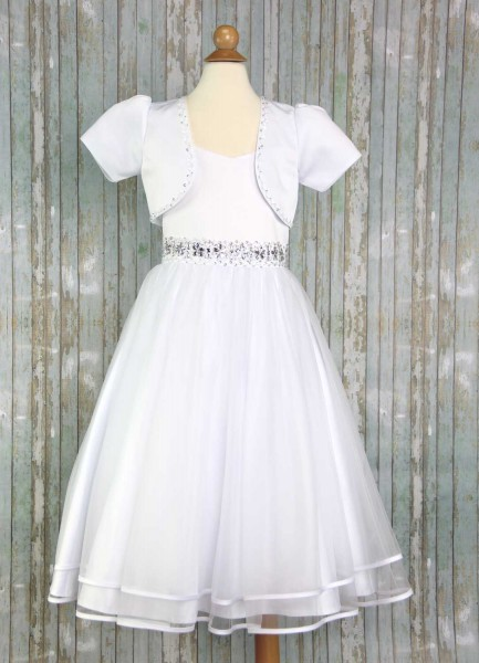 First Communion Dress with Fashion Bolero - White