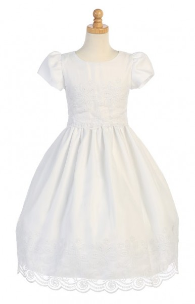 First Communion Dress with Organza Overlays - White