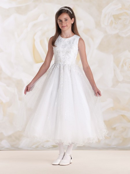 First Communion Dress with Floral Embroidered Bodice - White