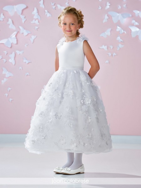 First Communion Dress with Floral Skirt - White