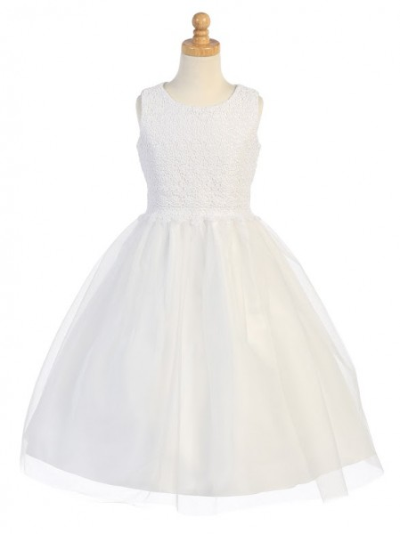 First Communion Dress with Gathered Tulle Skirt - White