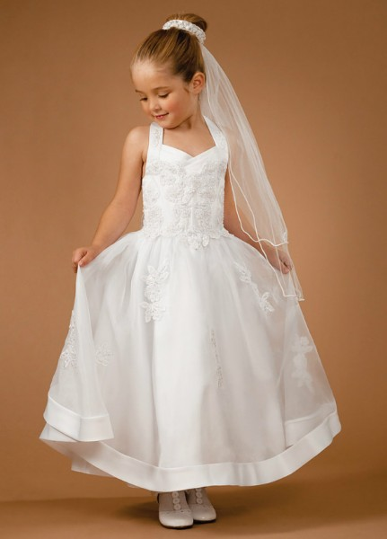 First Communion Dress with Halter Top - White