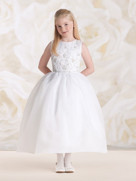 First Communion Dress with Hand Beaded Bodice - White