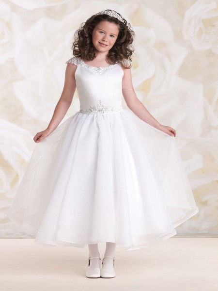 First Communion Dress with Hand-beaded Sleeves - White