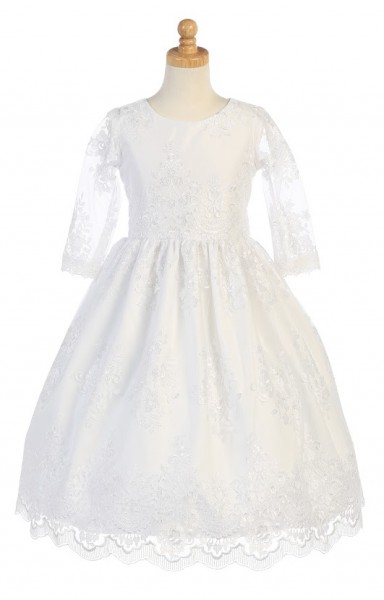 First Communion Dress with Heavy Floral Lace - White