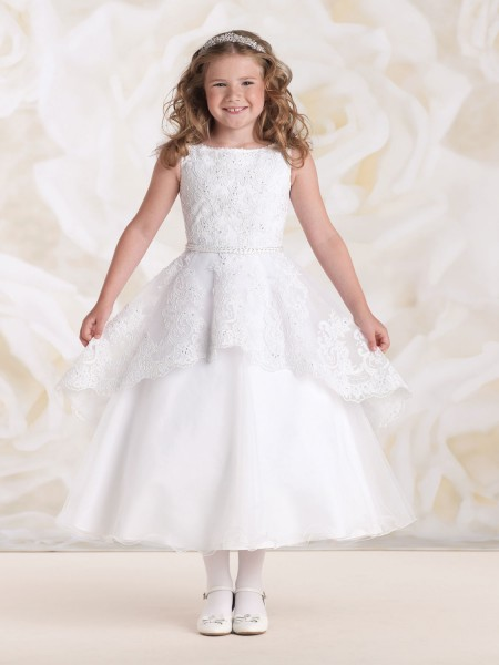 First Communion Dress with High-Low Peplum Skirt - White