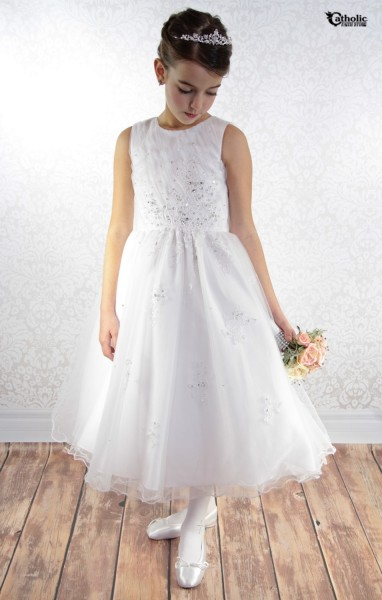 First Communion Dress with Rhinestone Appliqué Embroidery - White