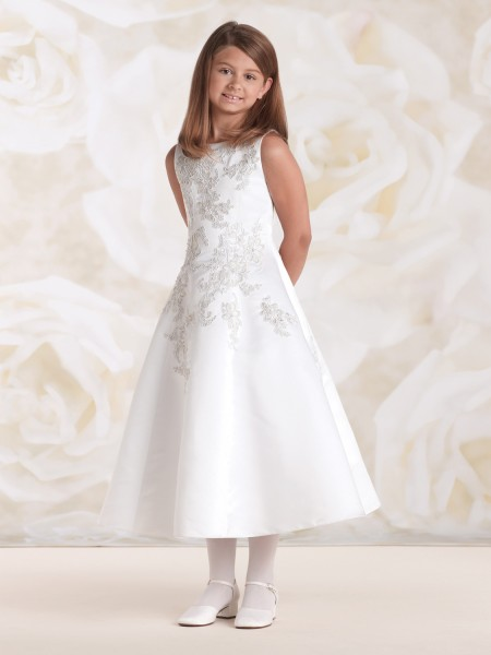 First Communion Dress with Metallic Lace Appliqué - White