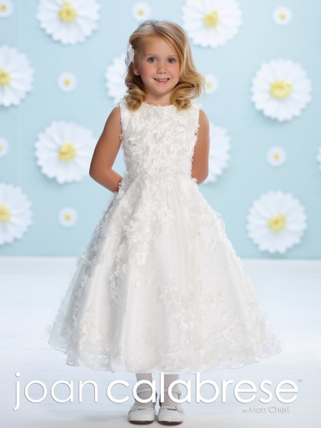 First Communion Dress with Organza Flower Accents - White