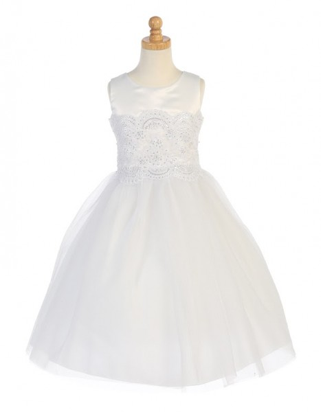 First Communion Dress with Pearls & Sequins - White