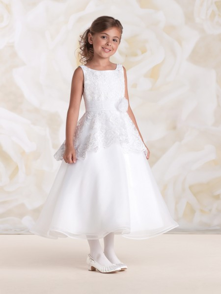First Communion Dress with Peplum Bodice - White