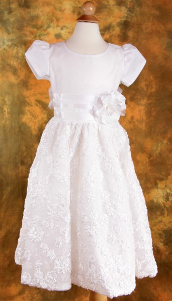 First Communion Dress with Ribbon Tulle - White