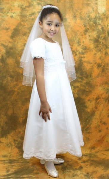 First Communion Dress with Satin Embroidery - White