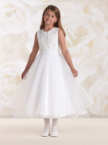 First Communion Dress with Scattered Flower Bodice, Size 6 - White