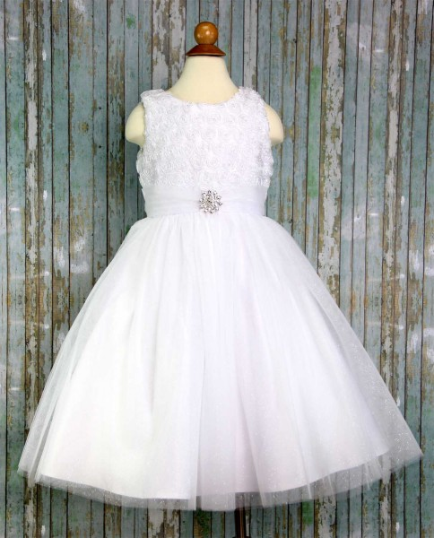First Communion Dress with Sparkling Tulle Skirt - White