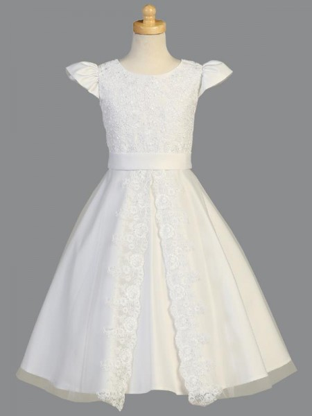 First Communion Dress with Split Lace Front - White