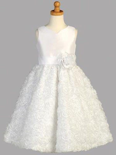 First Communion Dress with Wavy Ribbon Skirt - White